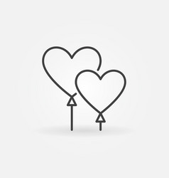 balloons in heart shape concept linear icon vector image