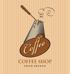 Banner for coffee shop with coffee cezve vector
