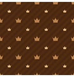 Beige crowns icons on brown background with strips vector