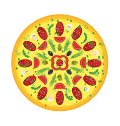 big pizza with sausage vector image
