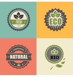Bio stamp eco organic labels collection vector