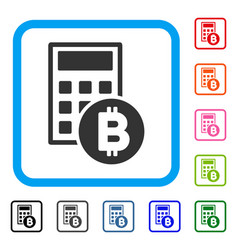 Bitcoin calculator framed icon vector