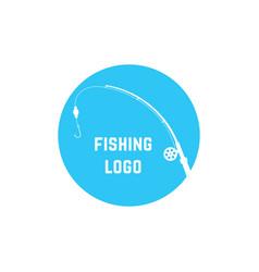 Blue simple fishing logo vector