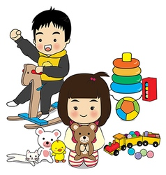 Boy and girl play toy vector