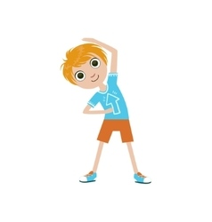 Boy Doing Stretching Exercise vector