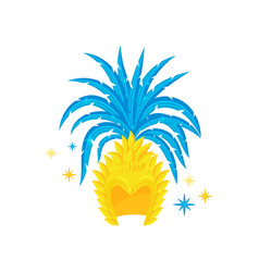 Brazilian headdress with bright blue feathers vector