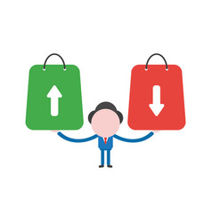 Businessman character holding shopping bags with vector