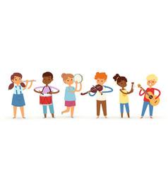 Cartoon musician kids vector