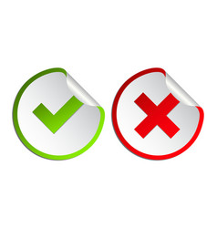 check mark icon set gree tick and red cross flat vector image