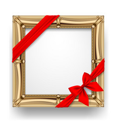 classic gold square frame with a red ribbon and vector image