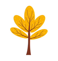 colorful autumn tree cartoon yellow orange red vector image