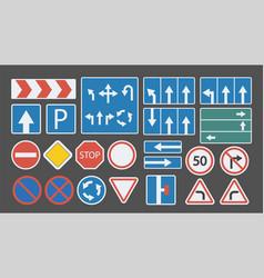Colorful flat design road signs big set vector