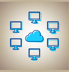 computers nerk sign sky blue icon with vector image