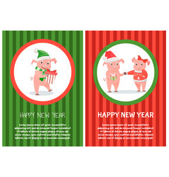 congratulations card new 2019 year piggy vector image