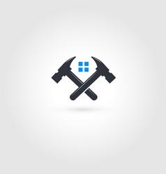 crossed hammers logo home repairs emblem fixing vector image