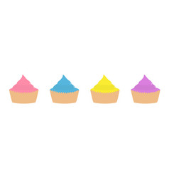 cupcake icon set line flat design style white vector image