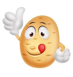 Cute potato cartoon thumb up vector image