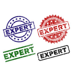 damaged textured expert seal stamps vector image