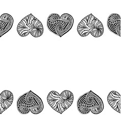 decorative horizontal border from black hearts vector image
