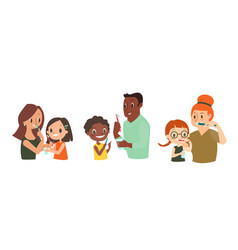 diverse family brushing their teeth together vector image