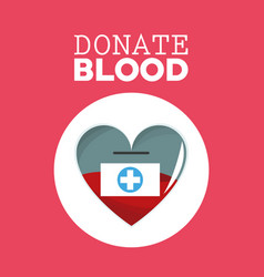 Donate blood heart campagne vector