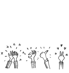 doodle sketch style applause on white vector image