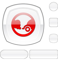 Ecology white button vector