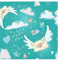 Enevelope flying hearts dandelion clouds raindrops vector