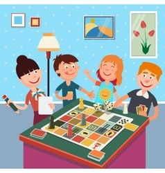 Family Playing Board Game Happy Family Weekend vector