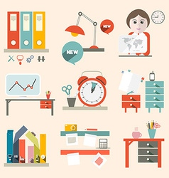 Flat Design UI Office Supply Flat Design vector image