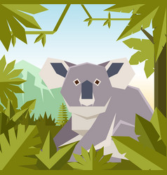 Flat geometric jungle background with koala vector