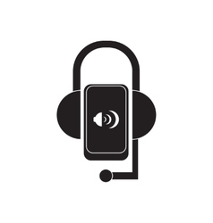 Flat icon in black and white mobile phone headset vector