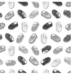 Flat monochrome kids shoes seamless pattern vector