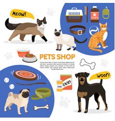 Flat pet shop icons composition vector