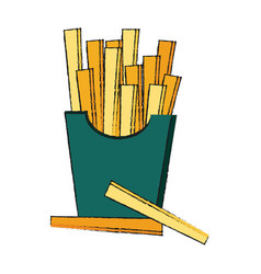 French fries fast food icon image vector