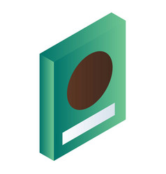 Green cereals box icon isometric style vector