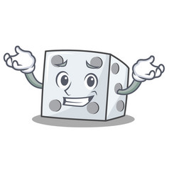 Grinning dice character cartoon style vector