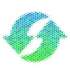 Halftone blue-green refresh icon vector