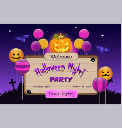 halloween night party invitation board vector image