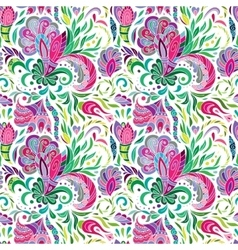Hand drawn doodle Flowers Colorful Floral vector image