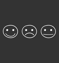 hand drawn smiley icon emotion face in flat style vector image