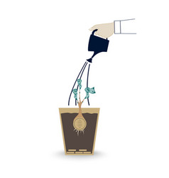 hand of business person watering money tree in the vector image