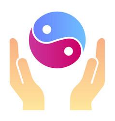 hands holding yin yang flat icon yin yang symbol vector image