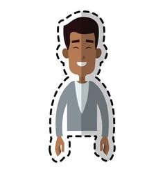 handsome happy dark skin man cartoon icon image vector image