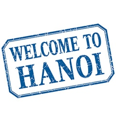 Hanoi - welcome blue vintage isolated label vector