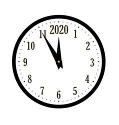 happy new year 2020 black clock arrows isolated vector image
