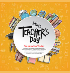 Happy teacher day circle concept with school vector