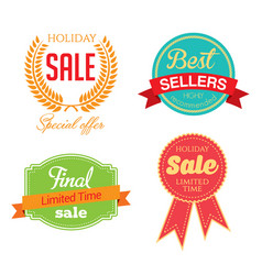 Holiday sale icon collection vector