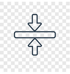 Horizontal merge concept linear icon isolated on vector