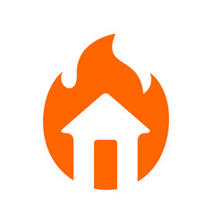 House on fire logo design home and fire flame vector